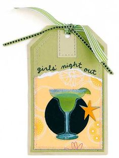 Design by Candi Gershon ADD GLITTER TO STICKERS. Tap the excess glitter into the jar to reuse later. Candi used this technique to add a glittery rim to the image of a margarita glass./