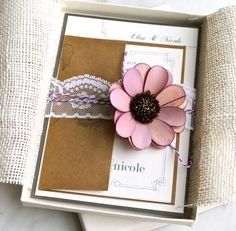 Shabby Chic - Wedding Invitation Box, Ivory Paper, With Purple & Grays, Lace, Twine, And Flower - Purchase for a Sample