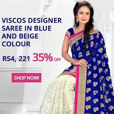 Get 35% off on our Decent Viscos Designer Saree In Blue and Beige Colour.  #fashion #style #clothing #shopping #womenswear
