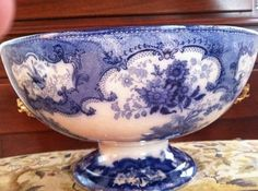 Antique Watteau Flow Blue Doulton Large Punch Bowl Circa 1897 | eBay
