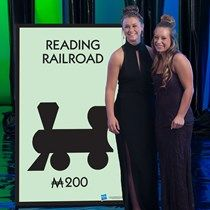 Our Monopoly Reading Railroad Standee features the railroad icon on the light green background. Monopoly Themed Parties, Monopoly Party, Monopoly Board, Monopoly Game, Clue Board Game, Board Games, Party Props, Party Themes, Clue Games