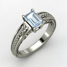 Emerald-Cut Aquamarine, Solitaire, Prong Set Ring in Sterling Silver