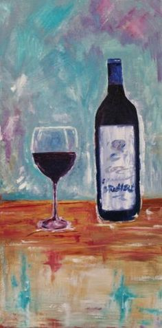 Canvas is gallery wrapped, sides are painted black. Signed and dated by artist Julie Lourenco. Blown Glass Art, Glass Wall Art, Stained Glass Art, Wine Painting, Oil Painting On Canvas, Canvas Art, Oil Paintings, Mosaic Diy, Wine Art