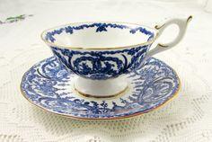 Coalport Blue Tea Cup and Saucer, Vintage Bone China