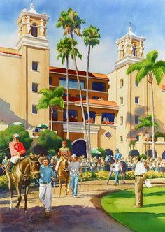 Mary Helmreich WATERCOLOR New Paddock At Del Mar Painting