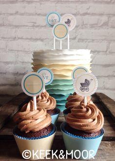 Ruffled omre babyshower cake with matching cupcakes! Design is based on the babyshower invitation ❤️