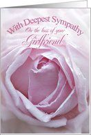 Sympathy for loss of Girlfriend with a pink rose close-up Card by Greeting Card Universe. $3.00. 5 x 7 inch premium quality folded paper greeting card. Find Sympathy cards for everyone on your list at Greeting Card Universe. Whether for one person or the whole family, a Sympathy card will make the occasion memorable this year. Let Greeting Card Universe help you find the best Sympathy card this year. This paper card includes the following themes: Girlfriend, Sympathy, and deat...