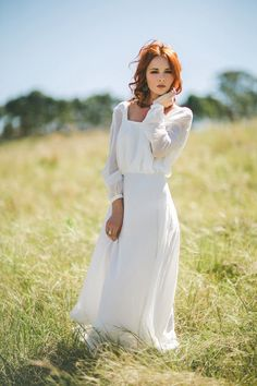 Bohemian Bridal  Wedding Dress with long sleeves, low back and flowing skirt - Mae on Etsy, $1,827.70