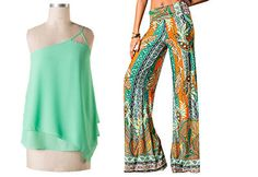 Studio 706 Boutique  Print flared pants with folded elastic banded on waistline are the perfect go to piece for all your summer hustle and bustle. Only $36 with free shipping! Mint Top $32. Shop online 24/7. #studio706btq