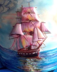 Bas-relief of the sailboat hand-painted. by Sweet pear