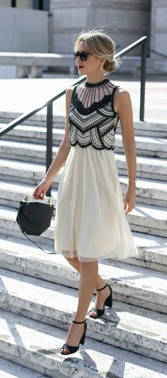 Style for over 35 ~ 20s-inspired deco black and white beaded midi dress with pleated tulle skirt perfect for any formal or special occasion #tulleskirtformal