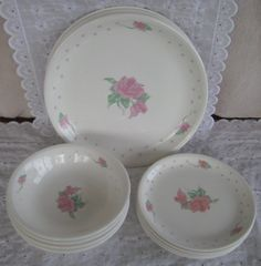 Vtg Tabletops Unlimited Pink Rose Ironstone Dinnerware Svc for 4 Plates Bowls  #TabletopsUnlimited