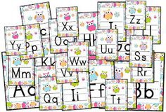 Brighten your classroom with this adorable set of owl-themed CURSIVE alphabet posters.Each letter is made to be printed on individual sheets of paper.Please be sure to check out my entire Owl-Themed Classroom Materials Pack before purchasing this title. Classroom Jobs Display, Owl Theme Classroom, Preschool Classroom, Classroom Organization, Classroom Ideas, Cursive Alphabet, Alphabet Posters, Name Tag Design, Birthday Display