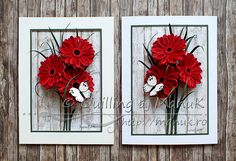 Panels with Quilled Gerbera Flowers and a White Butterfly - Quilling by ManuK (Manuela Koosch) Quilling Butterfly, Quilling Craft, Quilling Flowers, Butterfly Frame, White Butterfly, Paper Quilling Patterns, Quilled Paper Art, Paper Crafts Origami, Quilling Designs