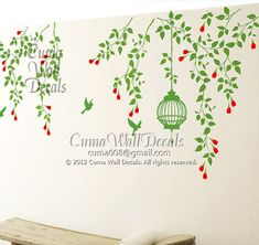 green Tree wall decals branch wall decal vinyl vine by cuma, $69.00