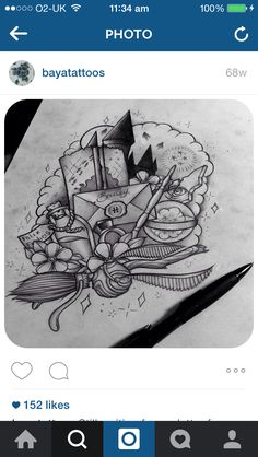 So getting something like this so I can say I finally got my letter from hogwarts. Theme Tattoo, Hp Tattoo, Tatoo Art, Tattoo Drawings, Tiny Tattoo, Harry Potter Drawings, Harry Potter Tattoos, Harry Potter Art, Badass Tattoos