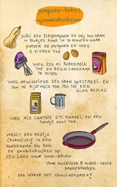 Illustration by Celine Schroeder, Recipe for pumpkin-coconut pancakes.