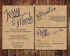 Rustic Wedding Invitation Suite, Kraft Paper Calligraphy Wedding Invite, Digital PDF, personalised casual simple wedding invitation