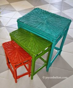 : Rescued Furniture: Before & After - These nesting tables were sprayed with Amy Howard High Performance lacquer in Kumquat, Easton Green, and Belize Lacquer Furniture, Furniture Wax, Repurposed Furniture, Outdoor Furniture, Outdoor Decor, Amy Howard Paint, Nesting Tables, Crafts To Do, Chalk Paint