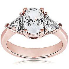 2.71 ct. F vs1 diamante tres anillo de piedra rosa anillo de oro