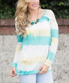 Another great find on #zulily! Aqua & Yellow Tie-Dye Crochet Top by Pinkblush #zulilyfinds