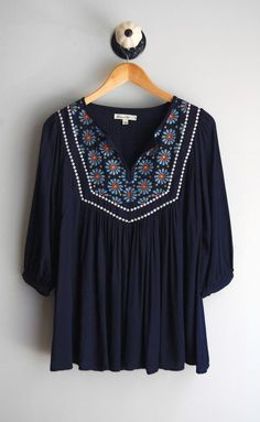 Navy Peasant Blouse - collared blouse womens, blouse femme, red womens blouse *sponsored https://www.pinterest.com/blouses_blouse/ https://www.pinterest.com/explore/blouse/ https://www.pinterest.com/blouses_blouse/blouse-designs/ http://www.loft.com/blouses/cat640046