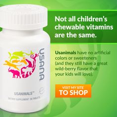 Usanimals have no artificial colors or sweeteners (and they still have a great wild-berry flavor that your kids will love). Usana Vitamins, Chewable Vitamins, Health Products, Wellness Products, Pure Products, Vitamins For Kids, Plant Based Protein, Fish Oil, Healthy Kids