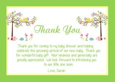 Baby Shower Thank You Card Wording Ideas