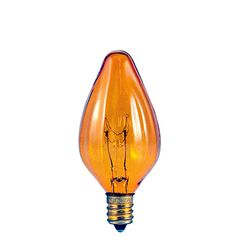 Bulbrite 15F10A 15 Watt Incandescent Fiesta F10 Candelabra Base Amber 25 Bulbs