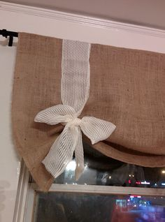Handmade Burlap Tie Up Valance with very pretty long straps to gather up and form a pretty Bow on Etsy, $29.99