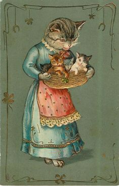 A MERRY CHRISTMAS mother cat in blue dress, red apron, holding basket containing four kittens, sweet Vintage Crazy Cat Lady, Crazy Cats, Cool Cats, I Love Cats, Mother Cat, Gatos Cats, Photo Chat, Cat Cards, Vintage Cat
