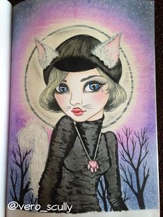Cat-girl, Mini-inklings by Tanya Bond. Colored by @vero_scully