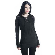bd90970a434 Lace Sleeve - Hooded sweater by Gothicana by EMP Edgy Outfits