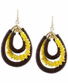 Haskell Gold-Tone Yellow Seed Bead Brown Woven Teardrop Orbital Earrings