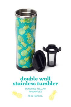 SUMMER 2014 - Take your favourite tea on the go with this fun, pineapple-printed mug. Davids Tea, Pineapple Express, Best Tea, Delicious Fruit, Cute Mugs, Water Bottles, Summer 2014, Tea Time, Tea Party