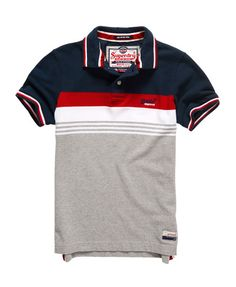 Mens - Retro Chest Stripe Pique Polo Shirt in Eclipse Navy/red Best Polo Shirts, Polo Rugby Shirt, Pique Polo Shirt, Polo Tees, Camisa Polo, Polo T Shirt Design, Corporate Shirts, T Shorts, Blazers For Men
