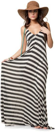 Striped maxi dress. - Click image to find more My Life Pinterest pins