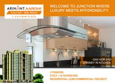 Arihant Aarohi Kalyan Shill Road - 1 2 & 3 BHK Flats - 3 Towers, Stilt+18 Storeyed, Residential Cum Commercial Project Gas Hob and Chimney in Kitchen http://www.asl.net.in/arihant-aarohi.html #ArihantAarohi #RealEstate #Homes #Property #Residential #Commercial #KalyanShillRoad