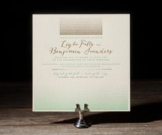 green + gold #letterpress + #foil #wedding #invitation by Bella Figura available at www.loveply.com | PLY: The Ultimate Paper Blog