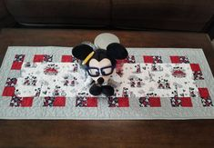 Quilted Disney Table Runner Mickey and Minnie Mouse Love Story Narrow Table Runner, Romantic Disney Valentine Wedding or Shower Gift Table Runner And Placemats, Quilted Table Runners, Mickey Mouse Quilt, Minnie Mouse, Narrow Table, Disney Valentines, Romantic Themes, Quilted Potholders, Place Mats Quilted