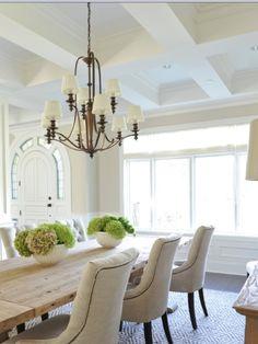 Elegant white dining room.