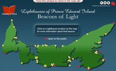 Lighthouses of Prince Edward Island - Lighthouse Map Prince Edward Island, East Coast Travel, Atlantic Canada, Hope Symbol, Safe Harbor, Beacon Of Light, Location Map, Shipwreck, Sandy Beaches