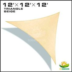 Windscreen4less® 12'x12'x12' Sun Shade Sail Canopy Beige -3rd Generation - Commercial Grade - 5 Years Warranty (Custom Sizes Available)