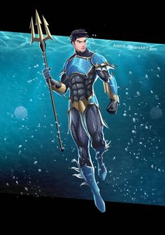 Commission for The character belongs to Art by me Update: Changed the face to look more asian Commission - Poseidon Fantasy Character Design, Character Design Inspiration, Character Concept, League Of Heroes, Dc Heroes, Dc Comics Art, Marvel Dc Comics, Superhero Characters, Fantasy Characters