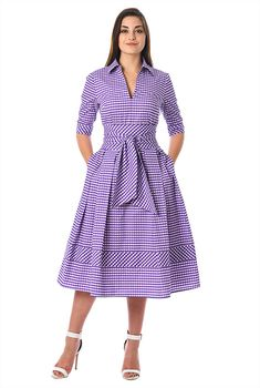 Our gingham check print cotton dress is cinched with a wide obi style sash tie belt and tailored with inverted pleats and banded hem at the full skirt. African Attire, African Fashion Dresses, African Dress, Custom Dresses, Vintage Dresses, 1950s Dresses, Vintage Clothing, Elegant Dresses, Casual Dresses