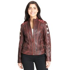 b4859521e654b Black Rivet Distressed Stars and Stripes Leather Jacket w  Lacing Detail -  Motorcycle - Women - Wilsons Leather