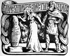 """Sun Shines in the Hall"" by W.G. Collingwood, in The Elder or Poetic Edda; commonly known as Sæmund's Edda. Edited and translated with introduction and notes by Olive Bray, published in 1908. This illustration appears on page 25. On the left is the dwarf Alvis, turned to stone following Thor's trickery. On the right is Thor, and between them is Thor's daughter Þrúðr, who had been promised to Alvis in marriage, just not by Thor. This is one of the rare occasions where Thor wins with wit…"