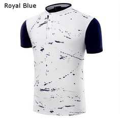 Fashion Splash-ink T-shirts Short Sleeves Stand Collar Casual Polo Top Tees For Men
