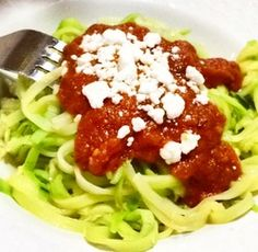 Zucchini pasta.. YUM!! Never eat pasta again! Recipe is on the blog! >>> http://www.functionfancy.com/blog/pasta-lovers-say-hello-to-my-little-friend-the-veggetti #Pasta #Paleo #Healthy #Veggeti