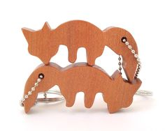 Nested Foxes Key Chain Fox Keychain Hand Cut Wood Scroll Saw